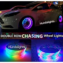 HUNDA 4PCS 12.5-15.5 Dream Color Double Row Chasing Strobe Flow Tire KIT LED Wheel Rings for Truck Car Bluetooth Controlled